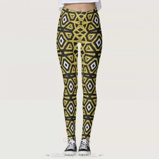 Black and Gold Pattern Leggings ★Funky Tribe I★ by webgrrl