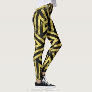 Black and Gold Pattern Leggings ★Funky Zebra★ by webgrrl