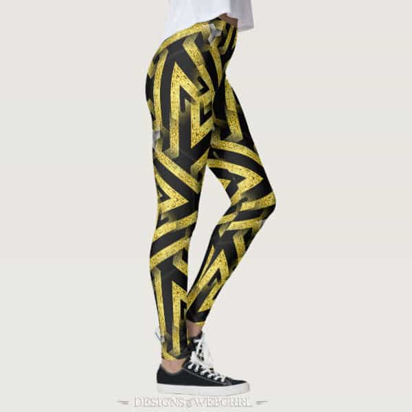 Black and Gold Pattern Leggings ★Funky Zebra★ by webgrrl