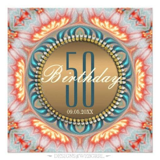 Bohemian Fire Mandala 50th Birthday Invitations front view