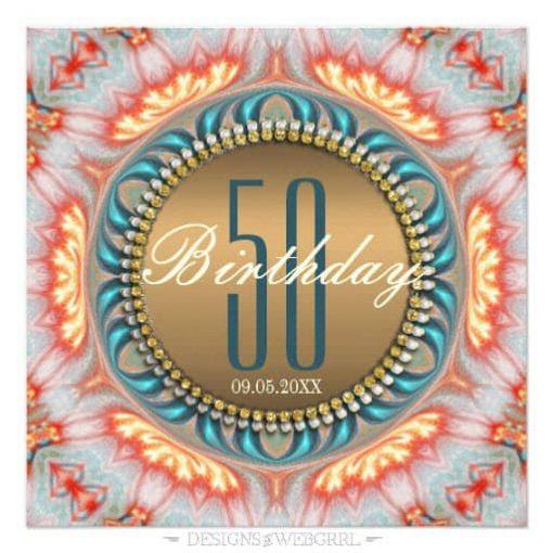 Bohemian Fire Mandala 50th Birthday Invitations front view