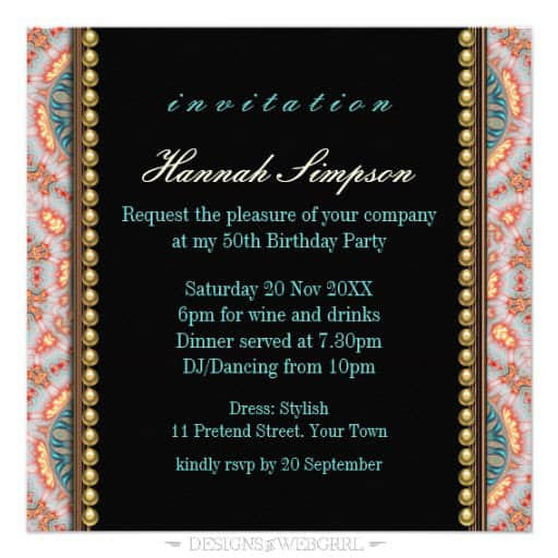 Bohemian fire mandala 50th birthday invitation zazzle back view birthday invite stopboris Image collections
