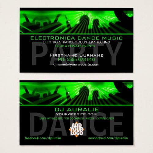 DJ Dance Rave Lasers Club Business Card by onlinecards