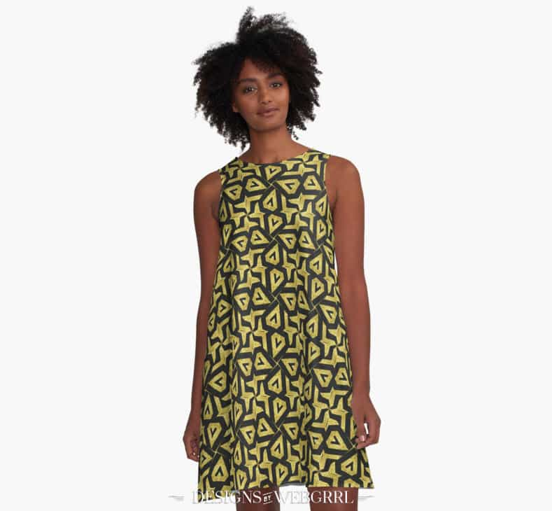 Edgy Gold Black Pattern Dress