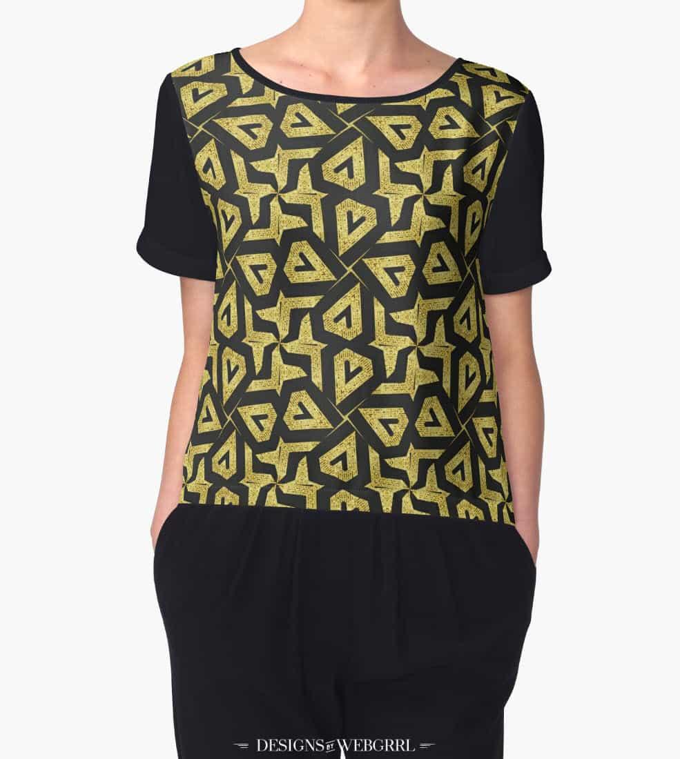 Edgy Gold Black Pattern Chiffon Top by Webgrrl | Redbubble