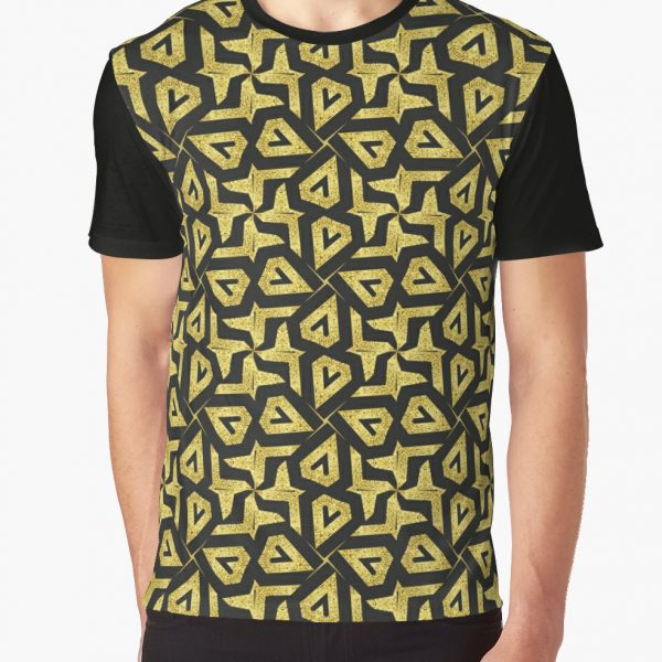 Edgy Gold and Black Pattern Graphic Shirt by Webgrrl | Redbubble