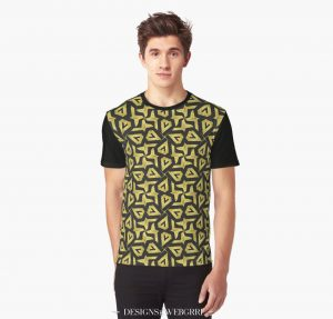 Edgy Gold and Black Pattern Graphic Shirt | Front view