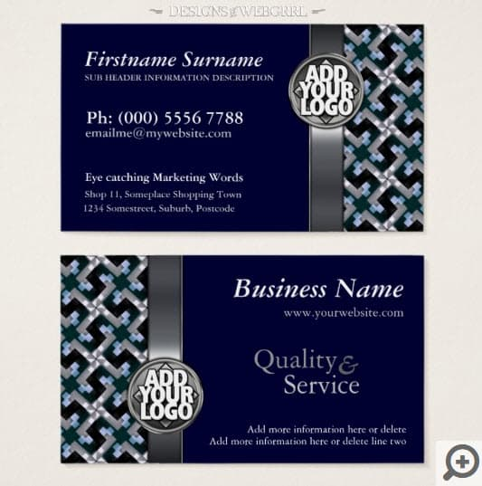 Navy blue silver with logo business cards navy blue silver pattern w logo business cards colourmoves