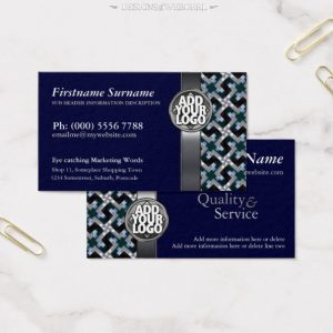 Navy Blue + Silver Pattern w/ Logo Business Cards