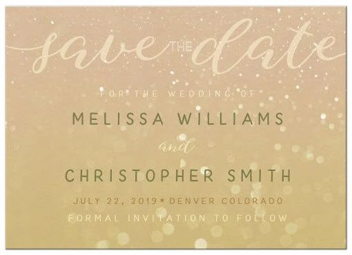Save the Date Bokeh Photo Overlay Card | Green Hipster