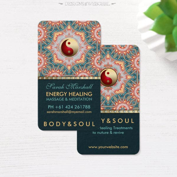 Teal Gold Energy Healing Holistic Business Card