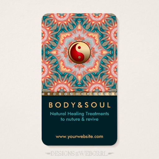 Teal Gold Energy Healing Holistic Business Card by onlinecards