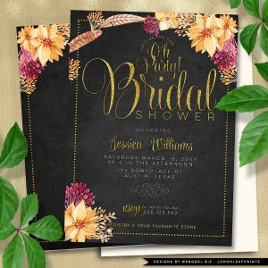 "Bohemian Chalkboard Gold Bridal Shower | Feathers + Flowers Flat Card, Invitation, 5""x7"""