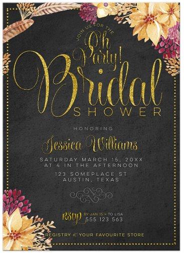 Bohemian Chalkboard Gold Bridal Shower Invitation (front)