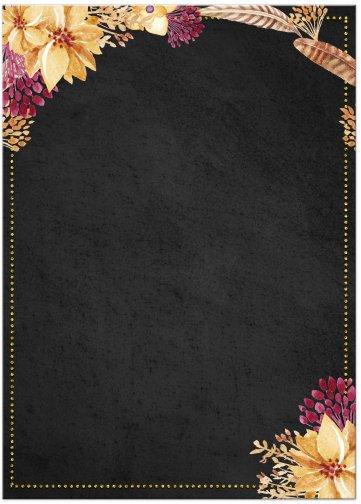 Bohemian Chalkboard Gold Bridal Shower Invitation (back)