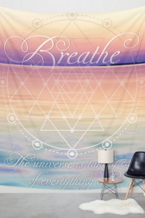 Breathe - Reminder Affirmation Mindful Quote Meditation Artistry Fabric Banners