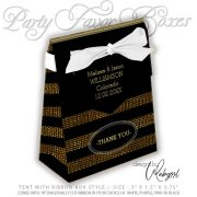 Tent Favor Box | Glitter Gold & Black Stripes Party | AlternativeWeddings