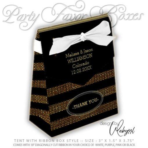 Tent Favor Box   Glitter Gold & Black Stripes Party   AlternativeWeddings