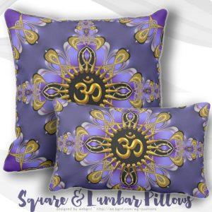 Om (Aum) Purple Gold Pretty Cushion / Pillow by webgrrl