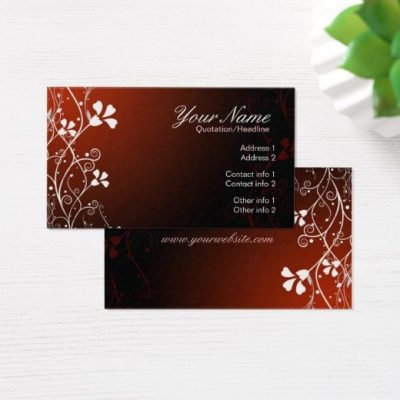 White Floral Red Business Card by Webgrrl | onlinecards