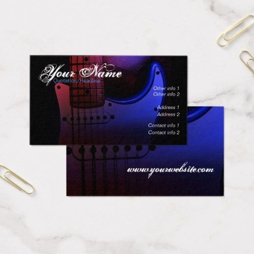 Sleek musician electric guitar business card template zazzle sleek electric guitar musician business card by webgrrl onlinecards reheart Images