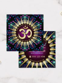 Sunshine OM Energy Magical Light Geometry Square Business Card