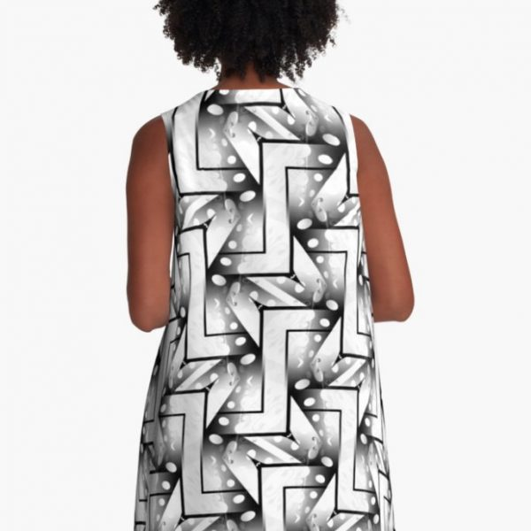2-Tones Black and White Patterns #4 A-Line Dresses by Webgrrl