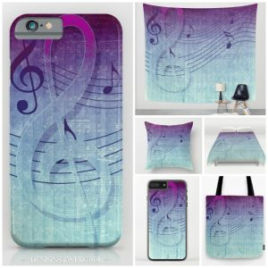 Aqua Purple Ombre Music Note design on a range of products