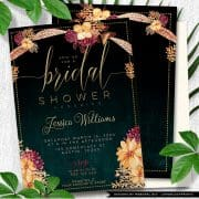 Bohemian Bridal Shower Invite | Summer Floral & Feathers