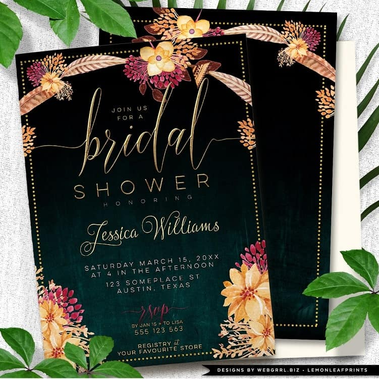 Bohemian Floral Feathers Bridal Shower Invitation