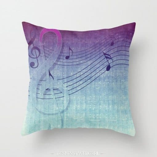 Aqua Purple Ombre Music Note Cushion
