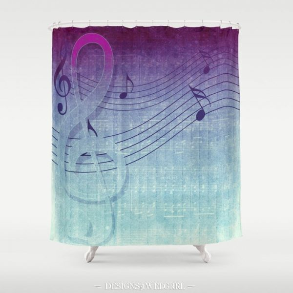 Aqua Purple Ombre Music Note Shower Curtain