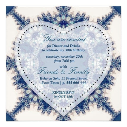 Blue & Cream Boho Chic Country Dinner Party Card by Paperstation