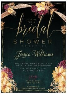 front - Bohemian Bridal Shower Invite   Summer Floral & Feathers