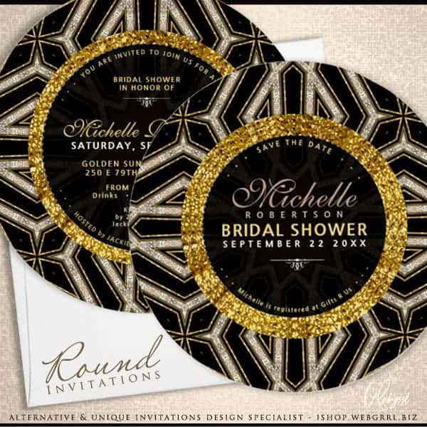 Glitter Style Gold Black Cross Bridal Shower Round Card by Webgrrl .biz