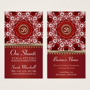 Healing Om Shanti Red White Mandala Yoga Business Card by Webgrrl   Onlinecards
