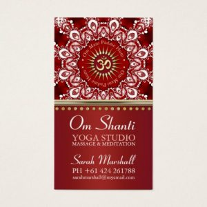 Healing Om Shanti Red White Mandala Yoga Business Card by Webgrrl | Onlinecards