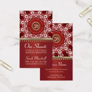 Healing Om Shanti Red White Mandala Yoga Business Card by Webgrrl | Onlinecards