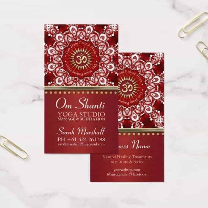 Healing Om Shanti Red White Mandala Business Card |