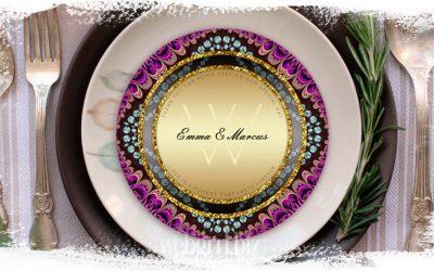 Circle Wedding Menu Card Designs