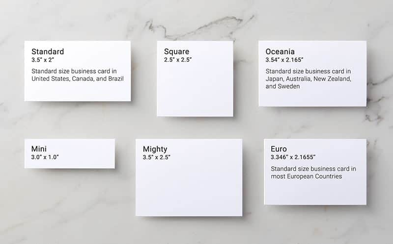 Business Card sizes available