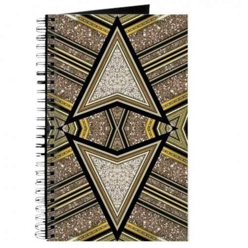 Art Deco Glitter Arrow Spiral Notebook   Webgrrl