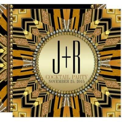 Illusion Art Deco Black Gold Dinner Party Invite by Webgrrl