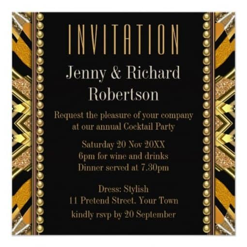 Illusion Art Deco Black Gold Dinner Party Invite by Webgrrl