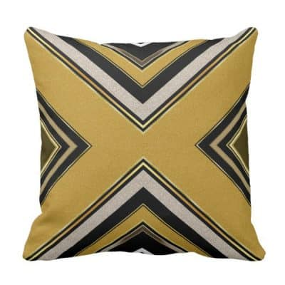 n2 Geometry Art Deco Black Gold Cushion Pillow by webgrrl