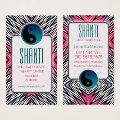 Pink Teal Shanti YinYang NewAge Yoga Business Card | webgrrl.biz