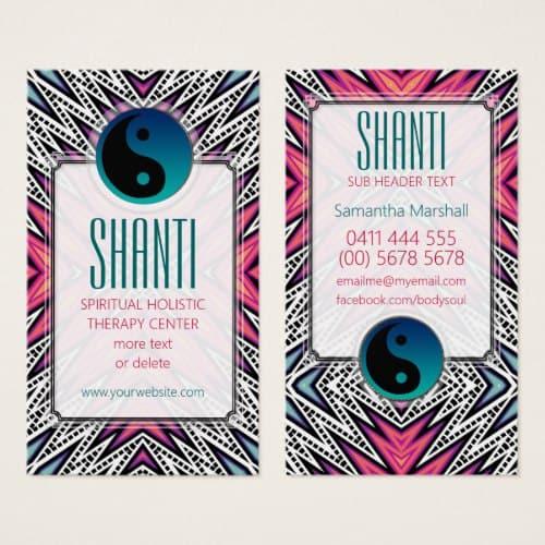 Pink Teal Shanti YinYang NewAge Yoga Business Card   webgrrl.biz