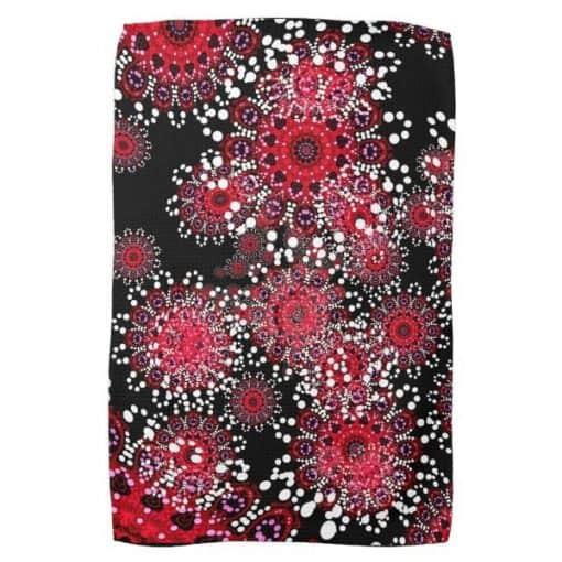 Red+Black Abstract Batik Art Tea Towel by webgrrl