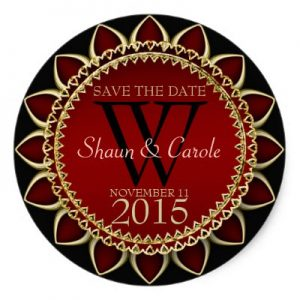 Red Gold Sunflower Monogram Save the Date Sticker by AlternativeWeddings