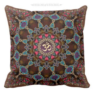 Vintage Bohemian Spiritual Aum Cushion / Pillow by webgrrl